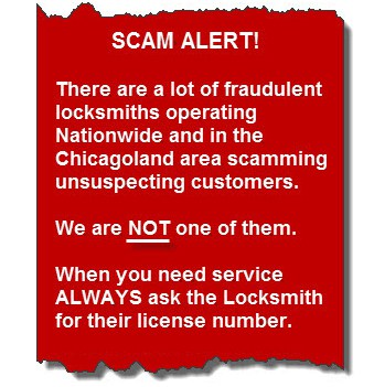 Scam Alert! Be wary of scammer locksmiths. We are your real, local locksmith, so give us a call.